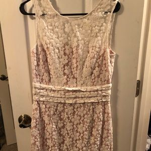 White lace with rose pink undertone dress